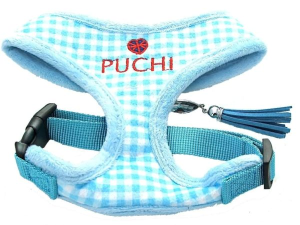 Chequered Chic Softy Harness & Lead in Sky Blue 1 Chequered20Check20Baby20Blue5Bfullscreen5D