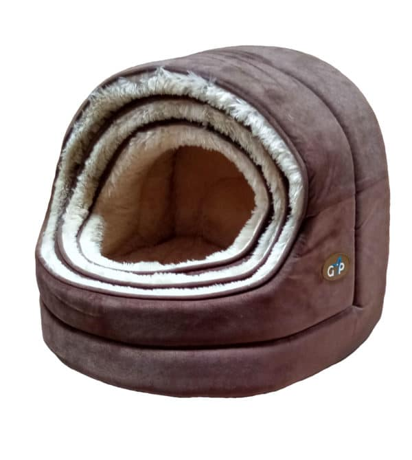 Nordic Hooded Bed Set Of 3 Finished In Brown 1 GorPets Hooded Bed Brown Set