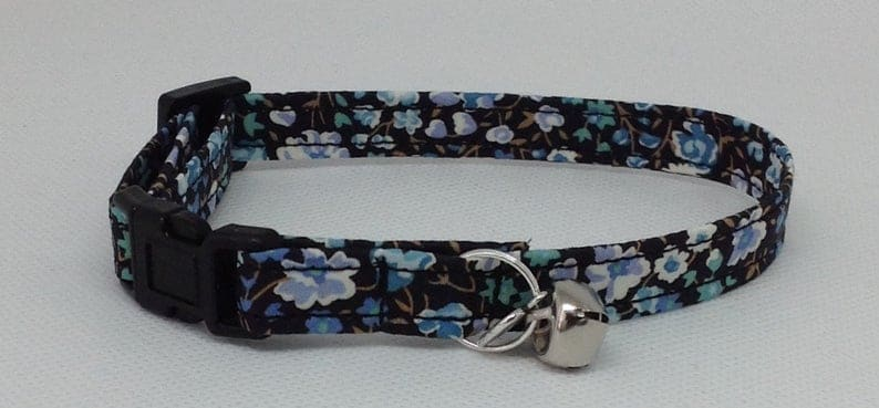 Charm Handmade Liberty print cat Collar Bell Safety Release Buckle